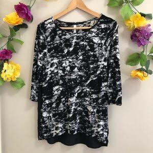 Kensie Black Marble Effect Top / Blouse